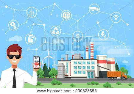 Engineer And Smart Factory Concept. Industrial Internet Of Things. Sensor Network. Modern Digital Fa
