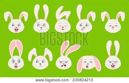 Heads Of Rabbit With Different Emotions - Cheerful, Sad, Thoughtfulness, Funny, Drowsiness, Fatigue,