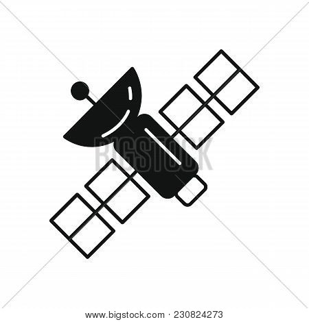 Science Satellite Icon In Silhouette Style. Space Illustration With Science Satellite In White Backg