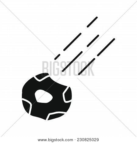 Meteorite Icon In Silhouette Style. Space Illustration With Meteorite In White Background. Element F