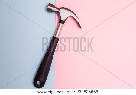 Hammer On A Pastel Pink And Blue, Creative Background For Custom Diy Messages And Promotionals.