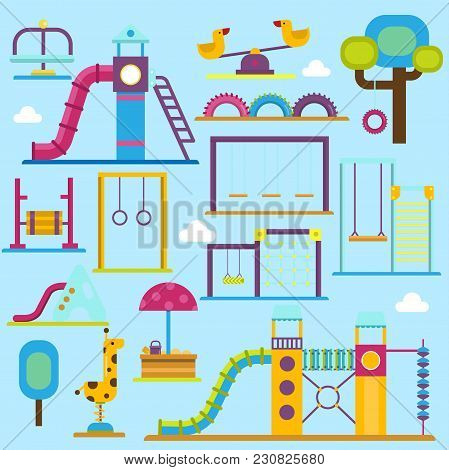 Kids Playground Game Zone Vector Fun Children Playpark Activity Flat Illustration. Happy Children Pl