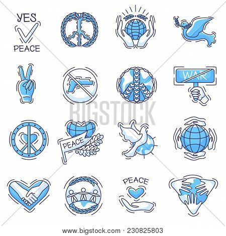 Peace Vector Peaceable Symbol Of Love And Peacefulness Or Peacekeeping Signs Illustration Set Of Pea