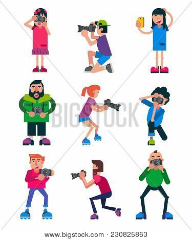 Photographer Vector Character With Professional Camera Shooting Photography Or Digital Photo Illustr