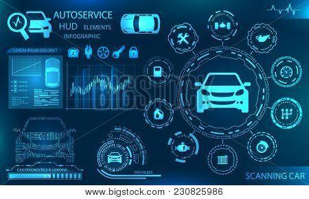 Hardware Diagnostics Condition Of Car, Scanning, Test, Monitoring, Analysis Verification - Illustrat