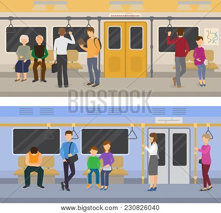 Subway Vector People In Metro And Passengers In Underground Using Urban Public Transport Illustratio