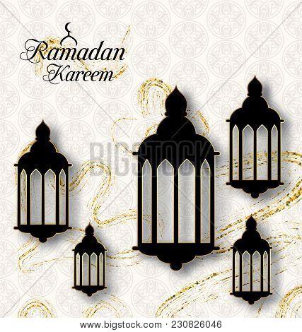 Arabic Lamps, Fanoos For Ramadan Kareem, Islamic Card - Illustration Vector