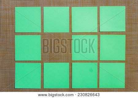 Stationary, Blank Green Sticker On Brown Board. Flat Lay. Top View. Time-management, Planning