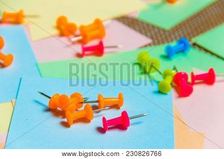 Stationary, Pushpins Heap On Blank Colored Sticker. Time-management, Planning
