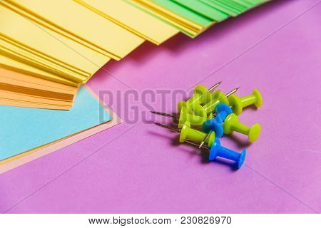 Stationary, Pushpins Heap, Blank Colored Sticker On Lilac Board. Time-management, Planning