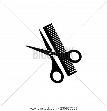 Scissor And Comb Icon Isolated On White Background. Scissor And Comb Icon Modern Symbol For Graphic