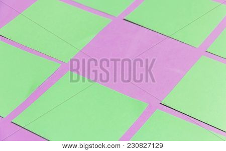Stationary, Blank Green Sticker On Lilac Board. Time-management, Planning