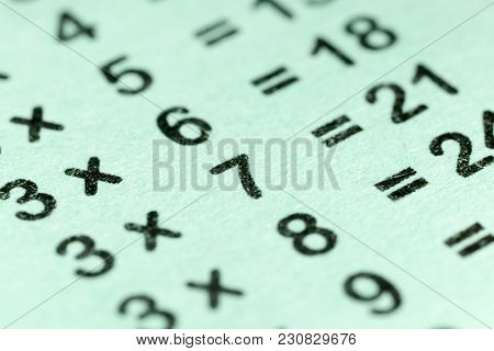 Multiplication Table As A Background. Macro . Photo Of An Abstract Texture