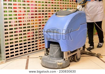 Floor Care And Cleaning Services With Washing Machine In Shopping And Entertainment Center
