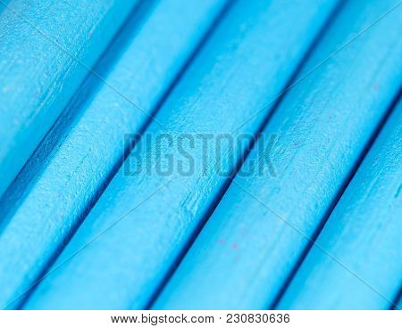 Blue Pencils As Background . Photo Of An Abstract Texture