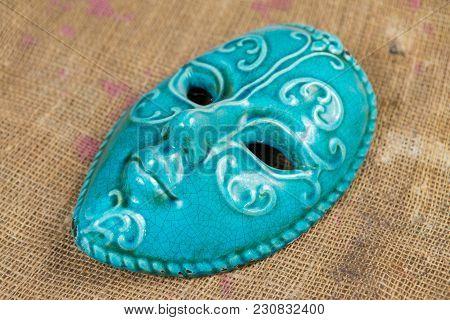 Venecian Mask, Ceramic Souvenir, Carnival, Romantic Art