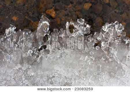 Clear ice forming at water's edge