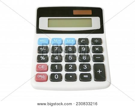 Digital Calculator Electronic Isolated On White Background. Clipping Path Included