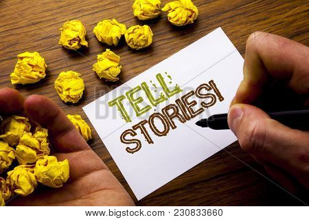 Word, Writing Tell Stories. Concept For Storytelling Telling Story Written On Notebook Note Paper On