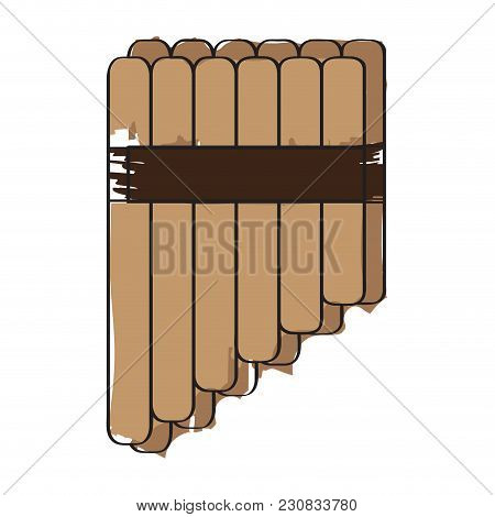 Isolated Panflute Icon. Musical Instrument. Vector Illustration Design