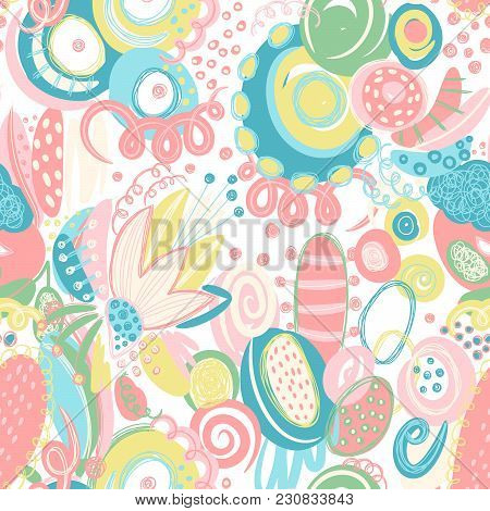 Vector Seamless Pattern With Hand Drawn Abstract Shapes, Scribbles, Spirales. Stains And Spots Of Pa