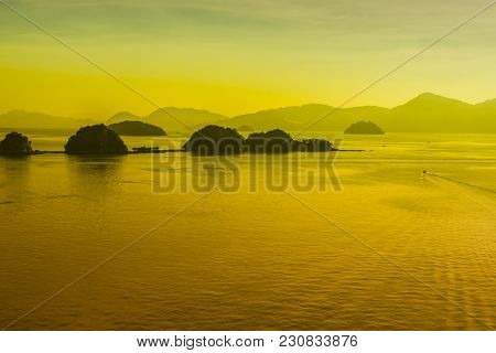 Sunset In The Langkawi Archipelago With Its Islets Bathed By The Andaman Sea In The Strait Of Malacc