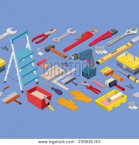 Tools Seamless Pattern. Builder Or Repair Symbols Isolated On Blue. Isometric Projection. Vector Bac