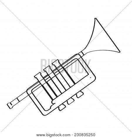 Isolated Trumpet Icon. Musical Instrument. Vector Illustration Design