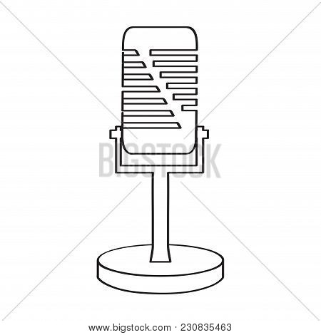 Vintage Microphone Icon. Musical Instrument. Vector Illustration Design