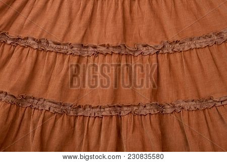 Brown Skirt Gathers Close Up. Close Up Clothing Material. Tapestry.