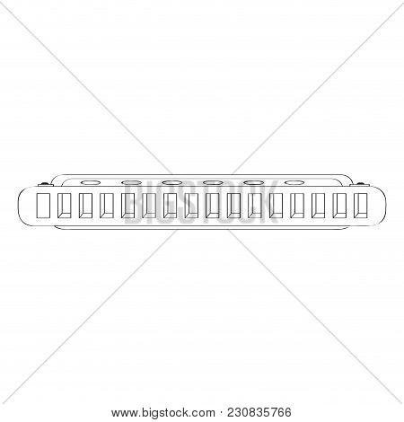 Isolated Harmonica Icon. Musical Instrument. Vector Illustration Design