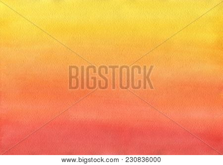Clean Warm Watercolor Background Uniform Gradient Mixing Of Yellow Cadmium, Orange, Red And Ruby
