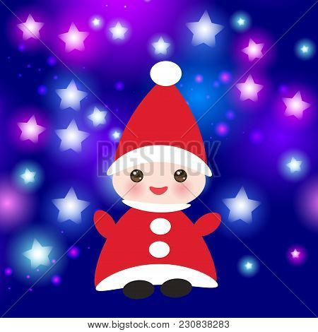 Kawaii Happy New Year Card, Funny Gnome In Red Hats On Blue Background With Stars. Vector Illustrati