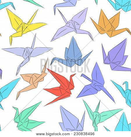Japanese Origami Paper Cranes Symbol Of Happiness, Luck And Longevity, Sketch Seamless Pattern. Purp