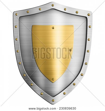 Metal silver classical shield with gold coat of arms 3d illustration