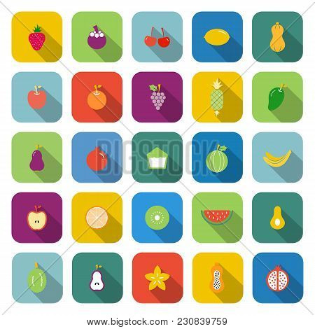 Fruit Color Icons With Long Shadow, Stock Vector
