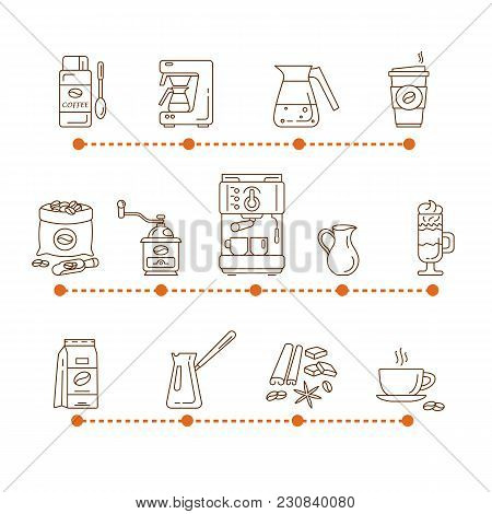 Coffee Linear Icons. Cafe Hot Drinks Thin Line Infographics. Modern Icons For Coffee Shop And Coffee