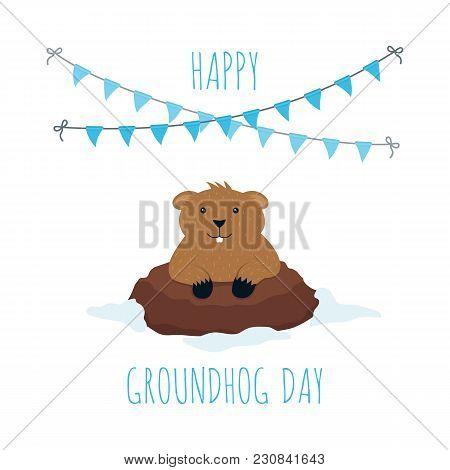 Groundhog Day Greeting Card, 2 February, Season Prediction, Vector Illustration