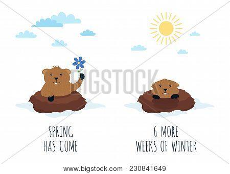 Groundhog Day Greeting Card, 2 February, Season Prediction