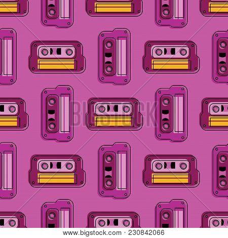 Retro Cassette Regular Seamless Pattern. Authentic Design For Digital And Print Media.