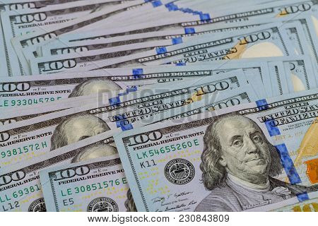 American Dollar Money Background For Business Of American Paper Hundred-dollar Bills As An Element O
