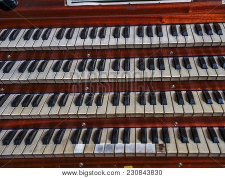 Closeup of old great organ manual