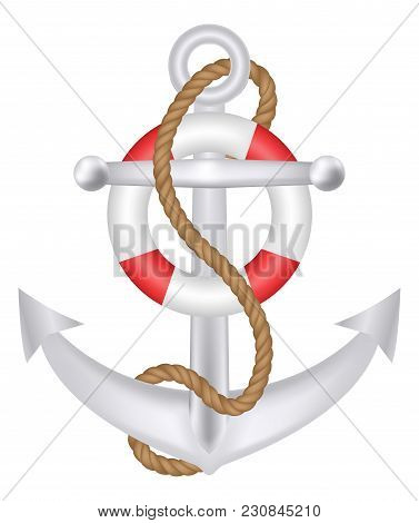 Anchor With Rope And Safety Ring Logo Vector