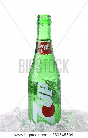 Irvine, Ca - March 12, 2018: A Glass 7-up Bottle. A Lemon-lime Flavored, Non-caffeinated Soft Drink.