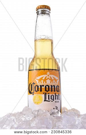Irvine, California - March 12, 2018: A Bottle Of Corona Light Beer In Ice. Corona Is The Most Popula