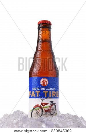 Irvine, California - March 12, 2018: Fat Tire Amber Ale In Ice. A Bottle Of Fat Tire Amber Ale From