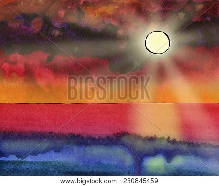 Fantasy Watercolor Seascape With The Sun, Sunbeams, Skyline And Wave. Magic Sunset. Indian Ink Drawi