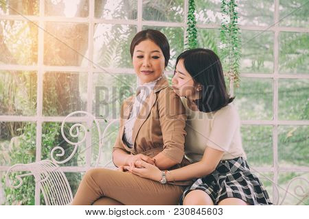 Mom Sulking Her Daughter In Garden House