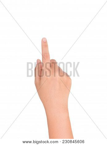 Hand Finger Touching On Isolated White Background