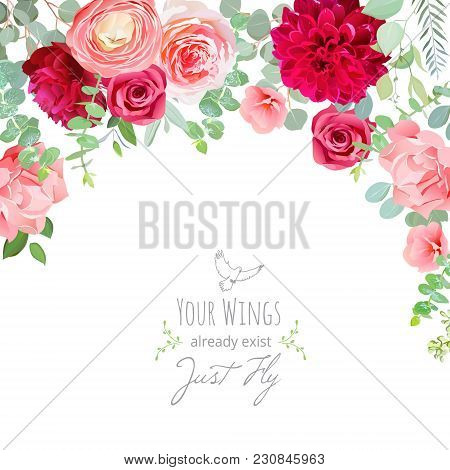 Carnation, Rose, Ranunculus, Dahlia, Pink And Burgundy Red Flowers And Decorative Eucaliptus Leaves